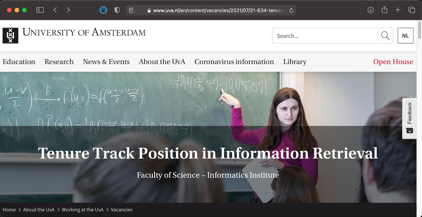 Tenure-track Position in Information Retrieval